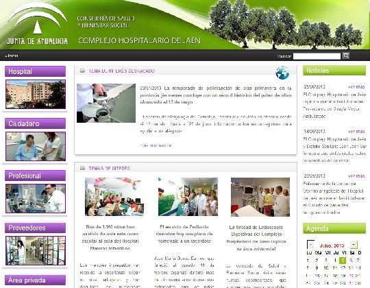 Portada de la web del Hospital de Jaén1543