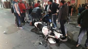Así ha quedado la moto tras el accidente. FOTO: IVAN BALLESTEROS