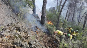 Imagen de los efectivos de Infoca trabajando en la extinción del fuego en Benatae. FOTO: Infoca.