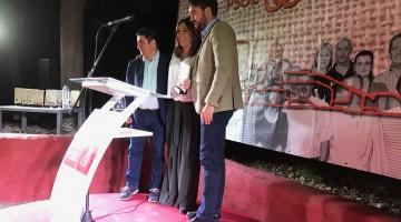 El secretario general provincial del PSOE y el alcalde de Bedmar junto a la secretaria general de Andalucía del partido.