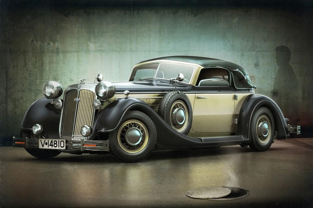 Horch, probablemente, fue una de las marcas más lujosas y prestigiosas de Alemania y su 853ª, una obra de arte en cuanto a diseño y belleza de líneas.