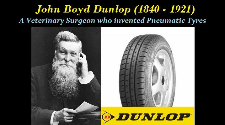 Jhon Boyd Dunlop desarrollo el primer neumático con cámara de aire. El veterinario e inventor lo hizo en el momento crucial para el desarrollo del transporte.