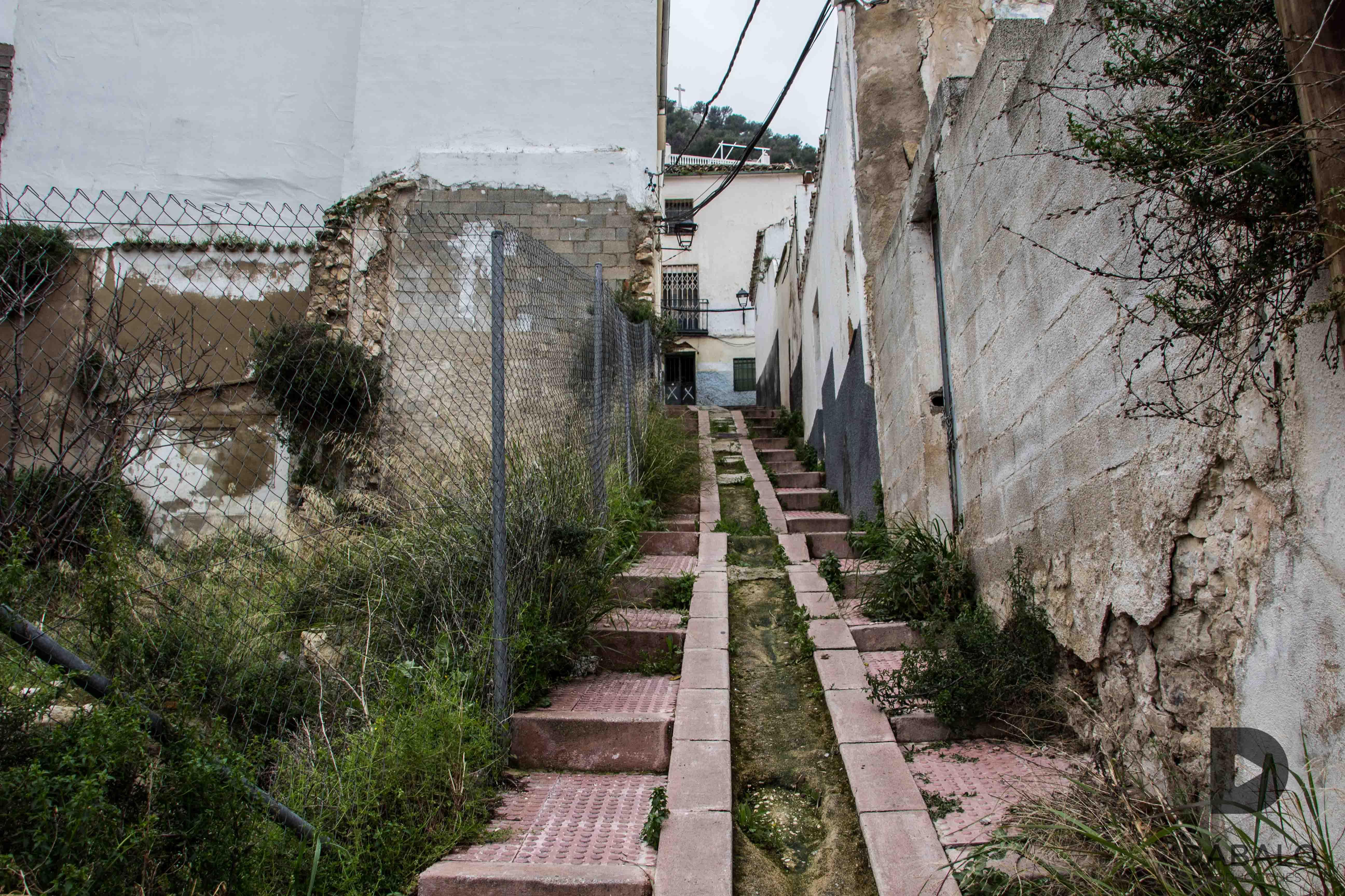 FOTO 3: Calle de Los Macías, abandonada totalmente e inundada de vegetación, hay solares a ambos lados de la calle a través de los cuales se puede pasar a la calle paralela (calle Santiago). La cruz del castillo en la parte de arriba.