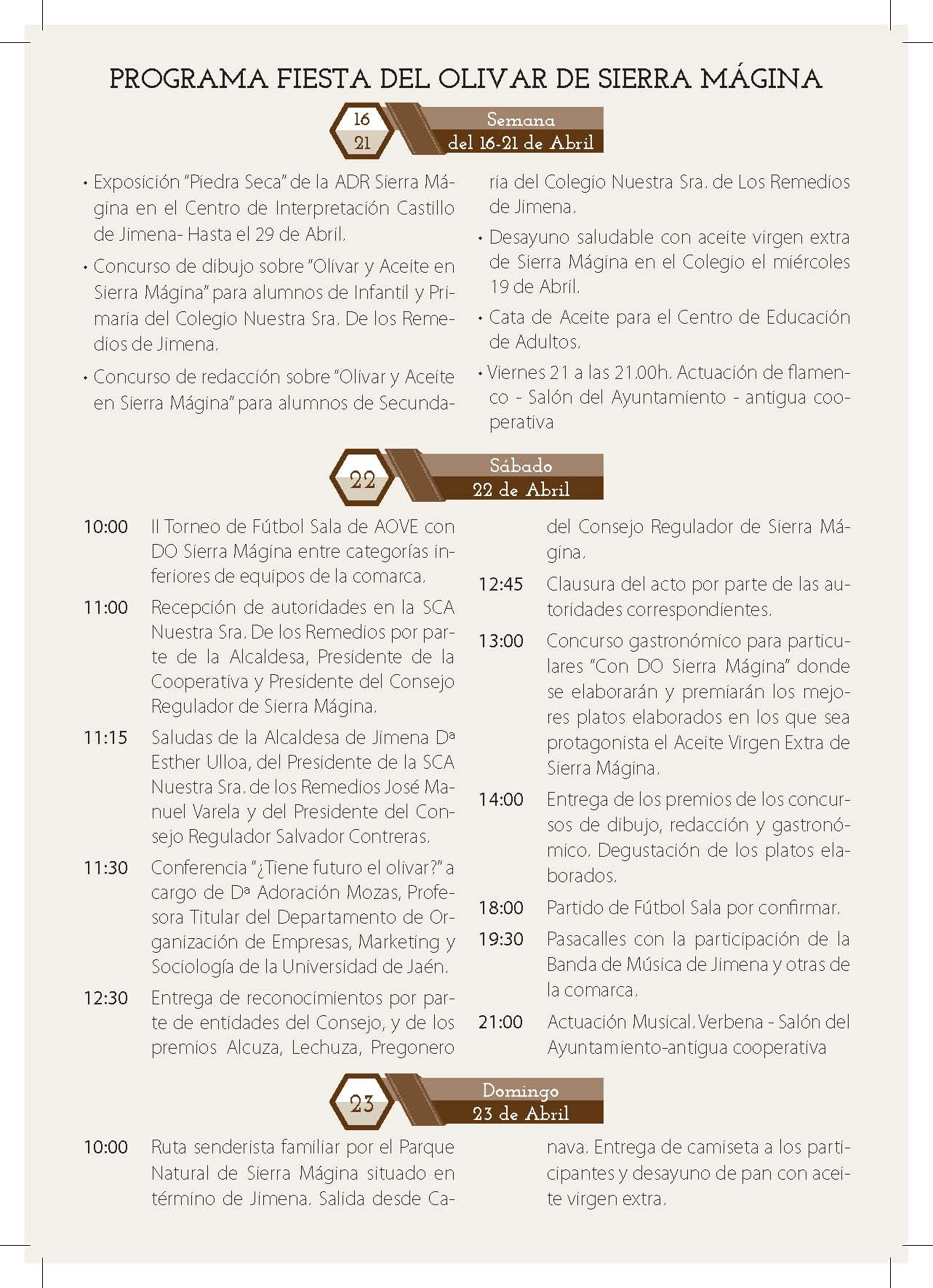 programa_ fiesta del olivar jimena 2017